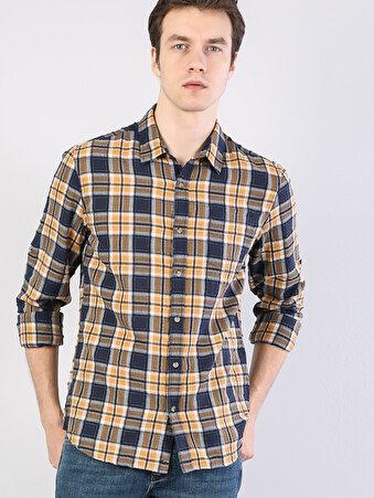 Kol Katlamalı Klasik Yaka Safran Uzun Kol Gömlek