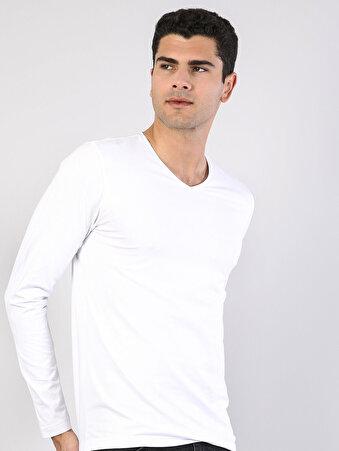 Beyaz V Yaka Uzun Kol Tişört