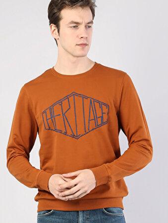 Turuncu Baskılı Uzun Kol Sweatshirt