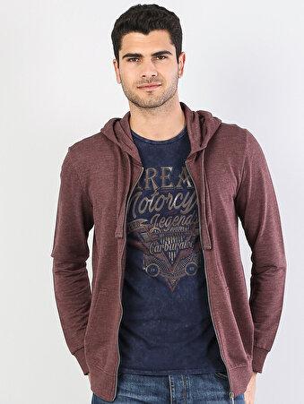 Bordo Fermuar Detaylı Kapüşonlu Uzun Kol Sweatshirt