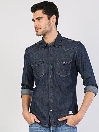 Mavi Uzun Kol Jean Gömlek