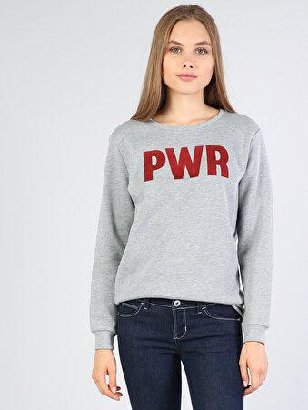 Gri Melanj Baskılı Uzun Kol Sweatshirt