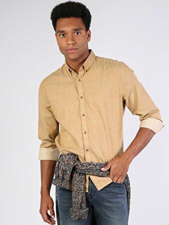 Klasik Yaka Safran Uzun Kol Gömlek