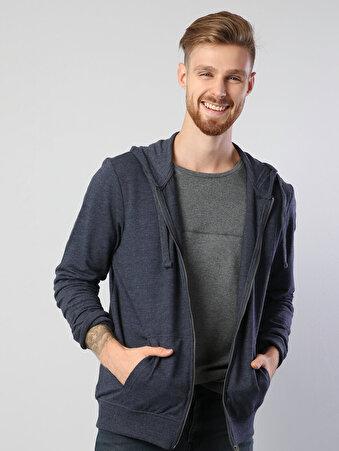 Mavi Fermuar Detaylı Kapüşonlu Uzun Kol Sweatshirt