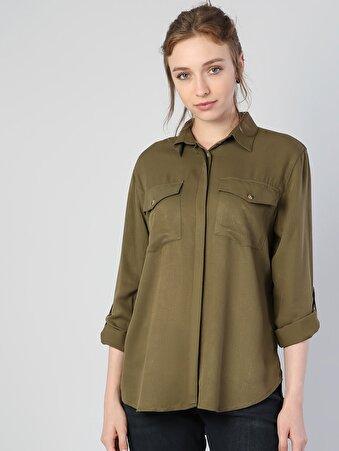 Klasik Yaka Haki Uzun Kol Gömlek