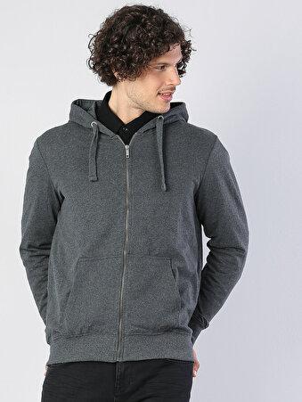 Antra Melanj Fermuar Detaylı Kapüşonlu Uzun Kol Sweatshirt