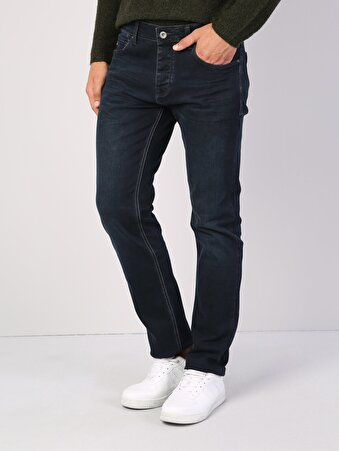 045 David Normal Kesim Orta Bel Düz Paça Koyu Mavi Jean Pantolon