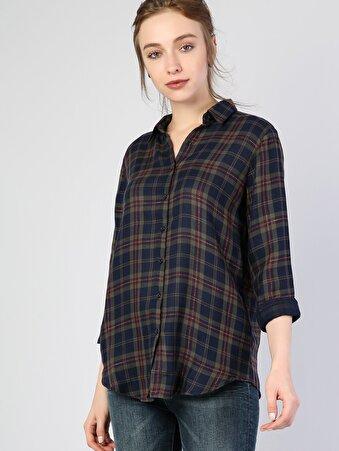 Lacivert Kadın Gömlek U.kol