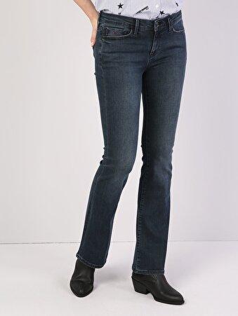 791 Monica Normal Kesim Orta Bel Geniş Paça Koyu Mavi Jean Pantolon