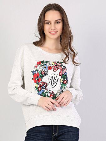 Açık Gri Kadın Sweatshirt