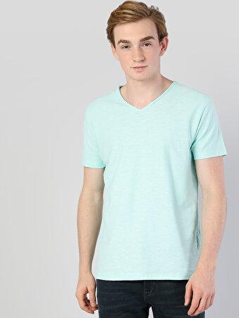 Mint Yeşili V Yaka Kısa Kol Tişört