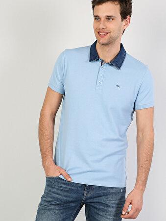 Dar Kesim Polo Yaka Açık Mavi  Tişört
