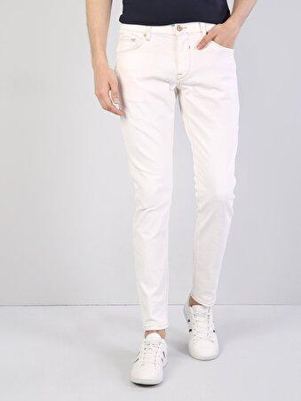 041 Danny Dar Kesim Düşük Bel Dar Paça Beyaz Jean Pantolon