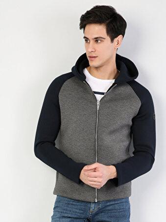 Dar Kesim Spor Fermuarlı Kapüşonlu Lacivert Ceket