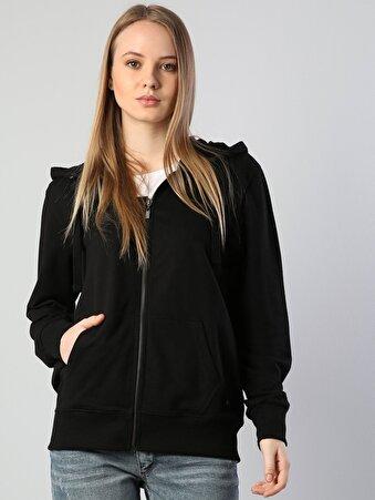 Siyah İp Detaylı Kapüşonlu Uzun Kol Sweatshirt