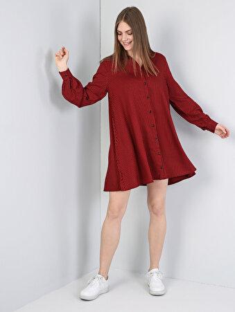 Gömlek Yaka Uzun Kol Diz Üstü Kırmızı Elbise