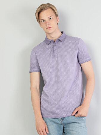 Polo Yaka Lila Kısa Kol Tişört