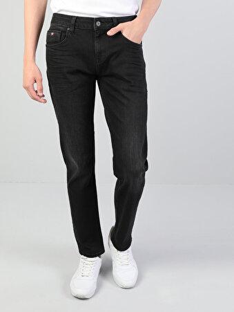 44 Karl Normal Kesim Düşük Bel Düz Paça Erkek Siyah Jean Pantolon