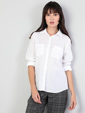 Dar Kesim Kol Katlamalı Klasik Yaka Beyaz Uzun Kol Gömlek