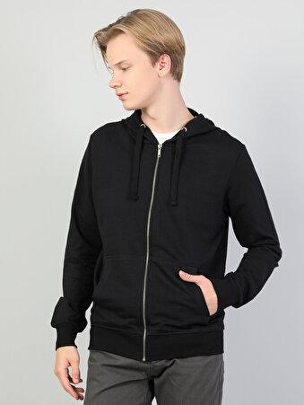 Siyah Fermuar Detaylı Kapüşonlu Uzun Kol Sweatshirt