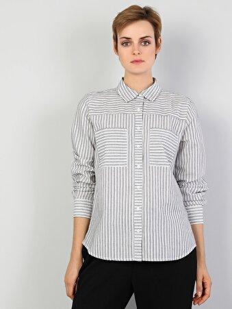 Regular Fit Çizgili Kadın Gri Uzun Kol Gömlek