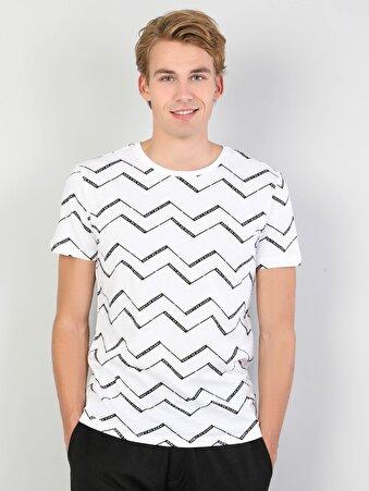Erkek Beyaz Kısa Kol Tişört