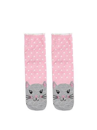 Desenli Pembe Kadın Çorap