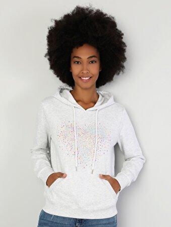 Regular Fit Kadın Kalp Baskılı Gri Sweatshirt