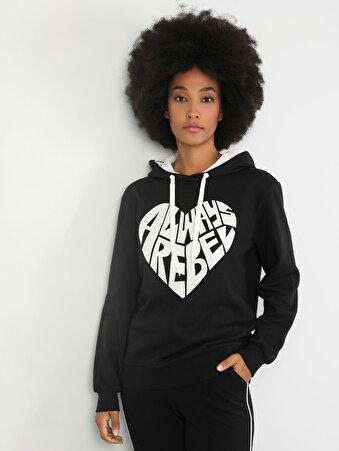 Regular Fit Kadın Baskılı Siyah Sweatshirt