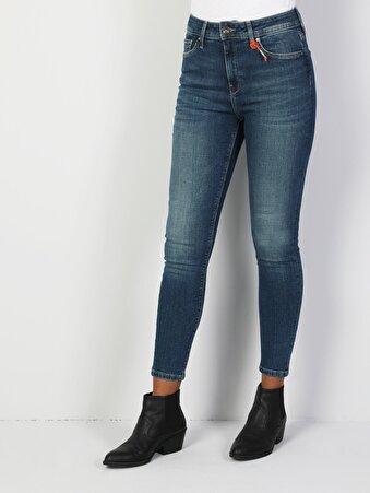 760 Diana Süper Dar Kesim Yüksek Bel Süper Dar Paça Kadın Mavi Jean Pantolon