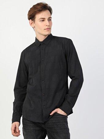 Dar Kesim Erkek Siyah Uzun Kol Gömlek