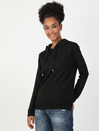 Regular Fit Kadın Siyah Sweatshirt