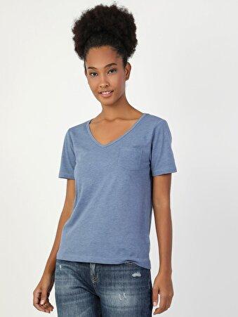 Mavi V Yaka Kısa Kol Tişört