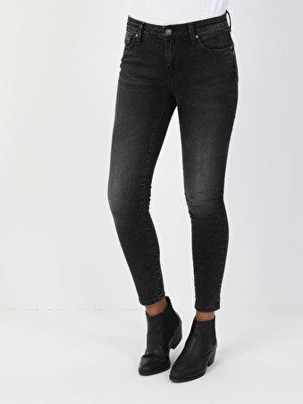 759 Lara Süper Dar Kesim Normal Bel Süper Dar Paça Kadın Siyah Jean Pantolon