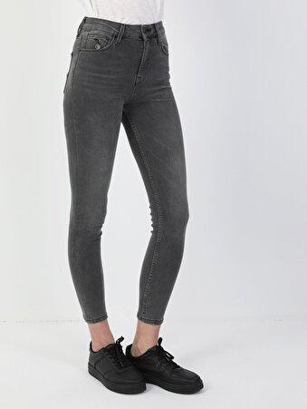 760 Diana Süper Dar Kesim Yüksek Bel Süper Dar Paça Gri Kadın Pantolon