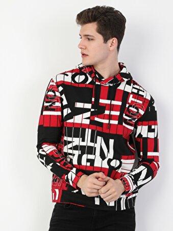 Regular Fit Erkek Baskılı Kırmızı Sweatshirt
