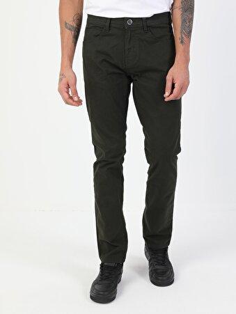 Düz Paça Normal Bel Yeşil Chino Erkek Pantolon