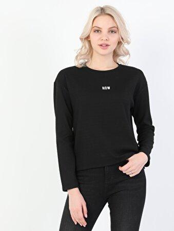 Regular Fit Baskılı Kadın Siyah Uzun Kol Tişört
