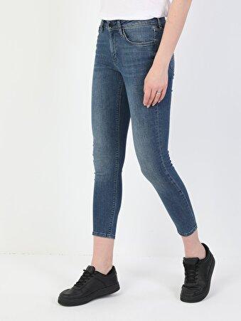 759 Lara Süper Dar Kesim Normal Bel Süper Dar Paça Kadın Mavi Jean Pantolon