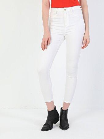 Süper Dar Kesim Beyaz Kadın Pantolon