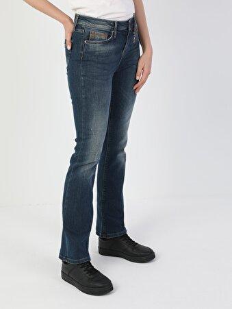 791 Monica Normal Kesim Normal Bel Çizme Paça Koyu Mavi Kadın Pantolon