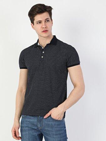 Polo Yaka Lacivert Kısa Kol Tişört