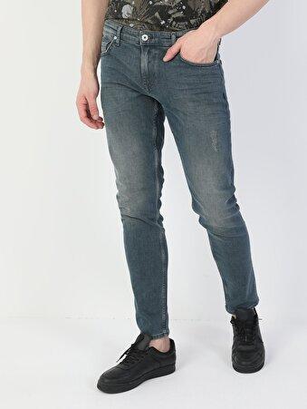 041 Danny Dar Kesim Düşük Bel Dar Paça Mavi Erkek Pantolon