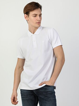 Regular Fit Polo Yaka Beyaz Erkek Kısa Kol Tişört