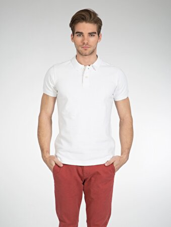 Beyaz Erkek Polo K.kol