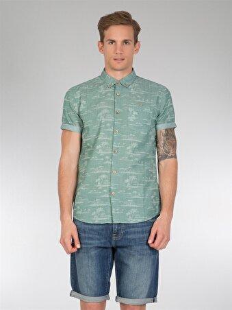 Yeşil Erkek Gömlek K.kol