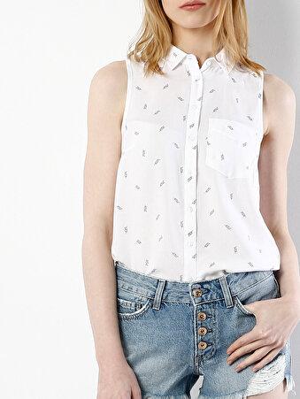 Beyaz Kadın Gömlek K.kol