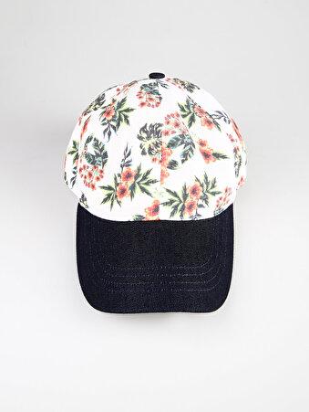 Kiraz Çiçeği Desenli Çok Renkli Kadın Şapka