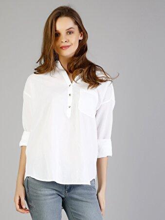 Beyaz Kadın Gömlek U.kol