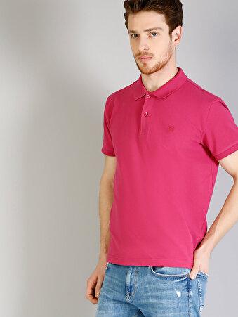 Polo Yaka Fuşya Kısa Kol Tişört
